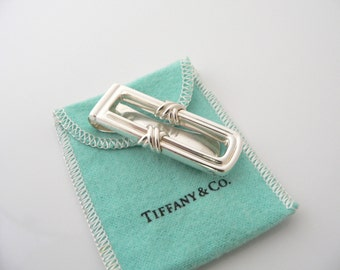 Tiffany & Co Sterling Silver Signature X Money Clip Holder Rare Pouch Cool