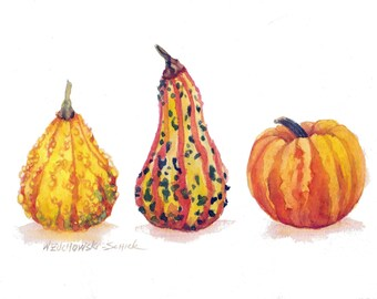 Gourd Trio Reproduction  Watercolor Painting by Wanda Zuchowski-Schick