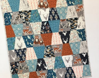 Woodland Baby Boy Quilt Nursery Crib Bedding  Scrappy Tumbler Patchwork  Hello Deer Bear Forest Animals