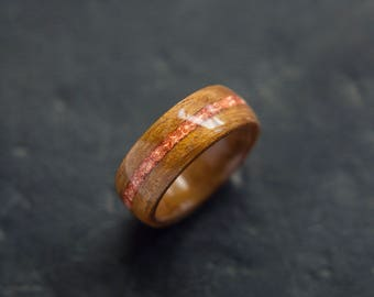 Mens Wedding band made from Exotic wood and Rose gold inlay, Mens engagement ring, Mens promise ring