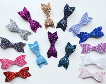 Large Sparkly Glitter Party Hair Bow Clips