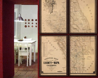 "Napa Valley map 1895, Vintage map of Napa Valley CA, Poster in 6 sizes up to 60x90"" Napa County in 1 or 4 parts - Limited Edition of 100"