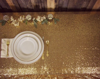 SALE!! Gorgeous Glittery & Gold Tablecloth ~ Wedding Tablecloth ~ Gold Sequin Tablecloth  ~ Wedding Table ~ 6 Foot Table ~ 8 Foot Table