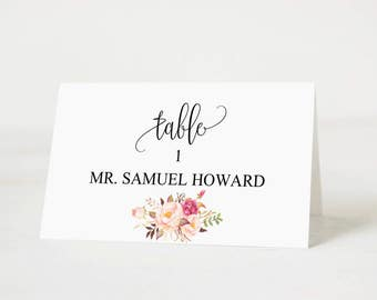 Wedding Place Cards Templates, Wedding Place Card Printable, Place Card Template, Wedding Printable, Pink Floral Wedding, Download PDF #102