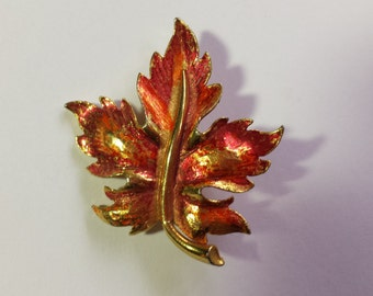 Mamselle Red and Gold Autumn Leaf Brooch