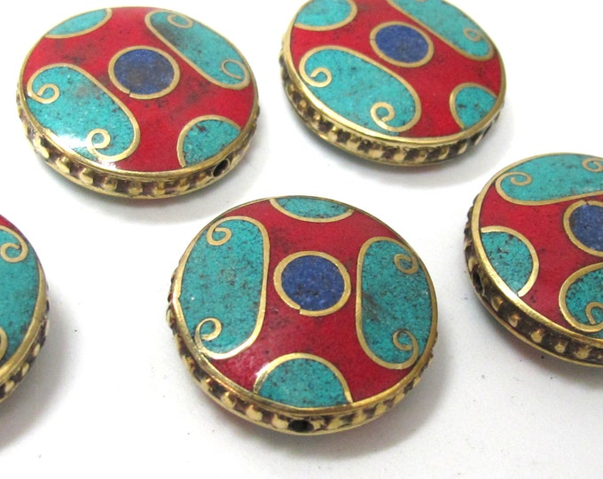 1 BEAD - Beautiful round disc tibetan brass bead with turquoise coral lapis inlay 24 mm - BD932
