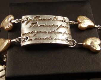 Love Letter Bracelet in Fine Silver with Pearls