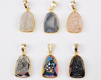 Wholesale Gold Plated Natural Titanium Agate Druzy Geode Faceted Drop Pendant Bead Sparkly Drusy Gemstone Making Jewelry Stone Charm ZG0191