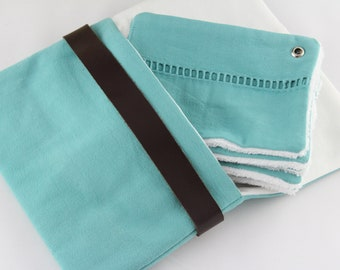Green-blue bag for handbag / evening bag, chic and elegant in fabric and leather / storage makeup and accessories / blue kit