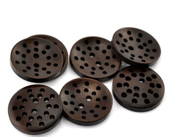Organic dark brown Wooden Sewing Buttons 25mm - set of 6 natural wood button  (BB125Z)