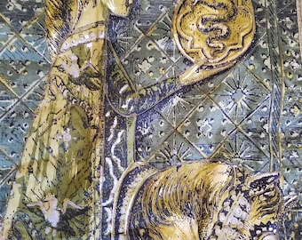 Beautiful Medieval Woman Tapestry, On Horseback Holding Biscione in Sphere, Quilted Fabric, Green and Gold