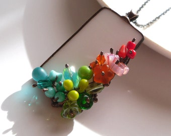 Stained glass necklace, statement jewelry, extravagant necklace, gift for women, multicolored necklace, party jewelry, anniversary gift