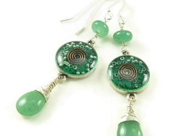 Orgone Energy Gemstone Dangle Earrings - Malachite and Aventurine Gemstones -  Sterling Silver - Positive Energy Generator - Artisan Jewelry