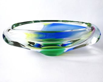 Czech Josef Hospodka Chribska Glass Bowl ~ Multicolored Glass Bowl ~ Vintage Art Glass Bowl ~ Bohemian Hand Made Glass Bowl / Ashtray