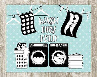 Laundry Wall Art, Aqua Laundry Printable, Laundry Room Wall Decor, Laundry Print, Laundry Poster, Laundry Sign 8x10 11x14 Instant Download