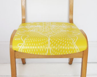 SOLD! Vintage, Retro, Up-cycled Wooden, Child's School Chair - Animals, Bears, Giraffe, Zoo Fest - Yellow