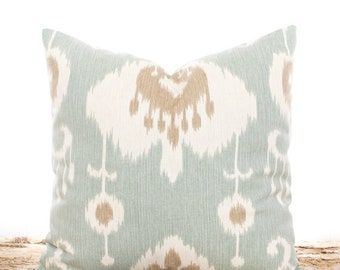 SALE ENDS SOON Seafoam Green Ikat Pillows, Ikat Throw Pillow Covers, Cotton Pillows, Cream and Tan, Ikat Pillowcases, Soft Pillows