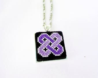 Trendy ultra violet necklace Pantone ultraviolet jewelry, Geometric violet embroidery, Embroidered statement necklace Color of the year 2018