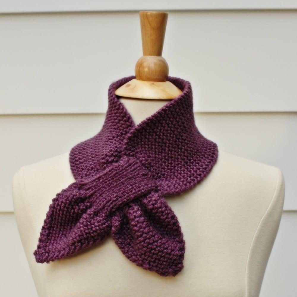 Keyhole scarf knitting pattern, knit ascot scarf pattern, unique ...