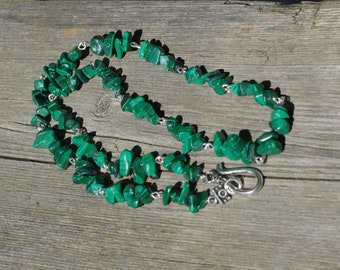 Malachite Stone Necklace ~ Unisex Necklace ~ Green Stone Jewellery ~ Men's Necklace ~ Hippie Style ~ Birthday Gift ~ Rock Hound Gift
