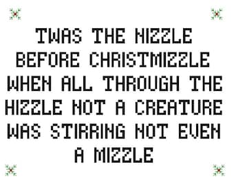 Night before Christmas funny pdf cross stitch pattern Nizzle Before Christmizzle gangster pattern