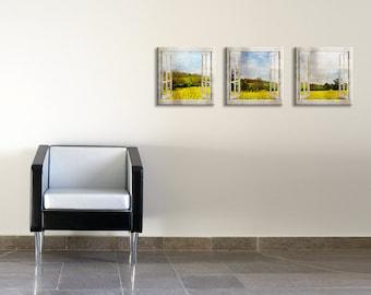Set of 3 printed canvas art - Mustard fields window view printed on canvas art - Wedding gift