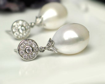 Large Ivory White Baroque Drop Pearl Earrings   Freshwater Pearl   CZ Pavé Round Sterling Silver Studs   Vintage Style   Gift Ready to Ship