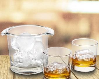 Personalized Ice Bucket with 2 Lowball Glasses - Personalized Barware - Groomsmen Gift - Housewarming Gift - Glassware - Ice Bucket - GC1572
