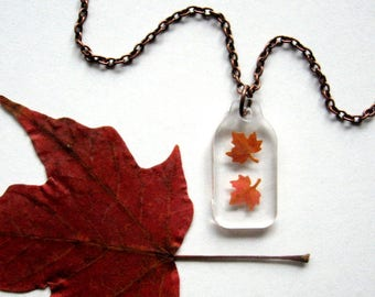 Falling Mini Maple Leaves - Real Autumn Leaves Necklace - botanical jewelry, maple leaves necklace, Autumn necklace, Canada, woodland, ooak
