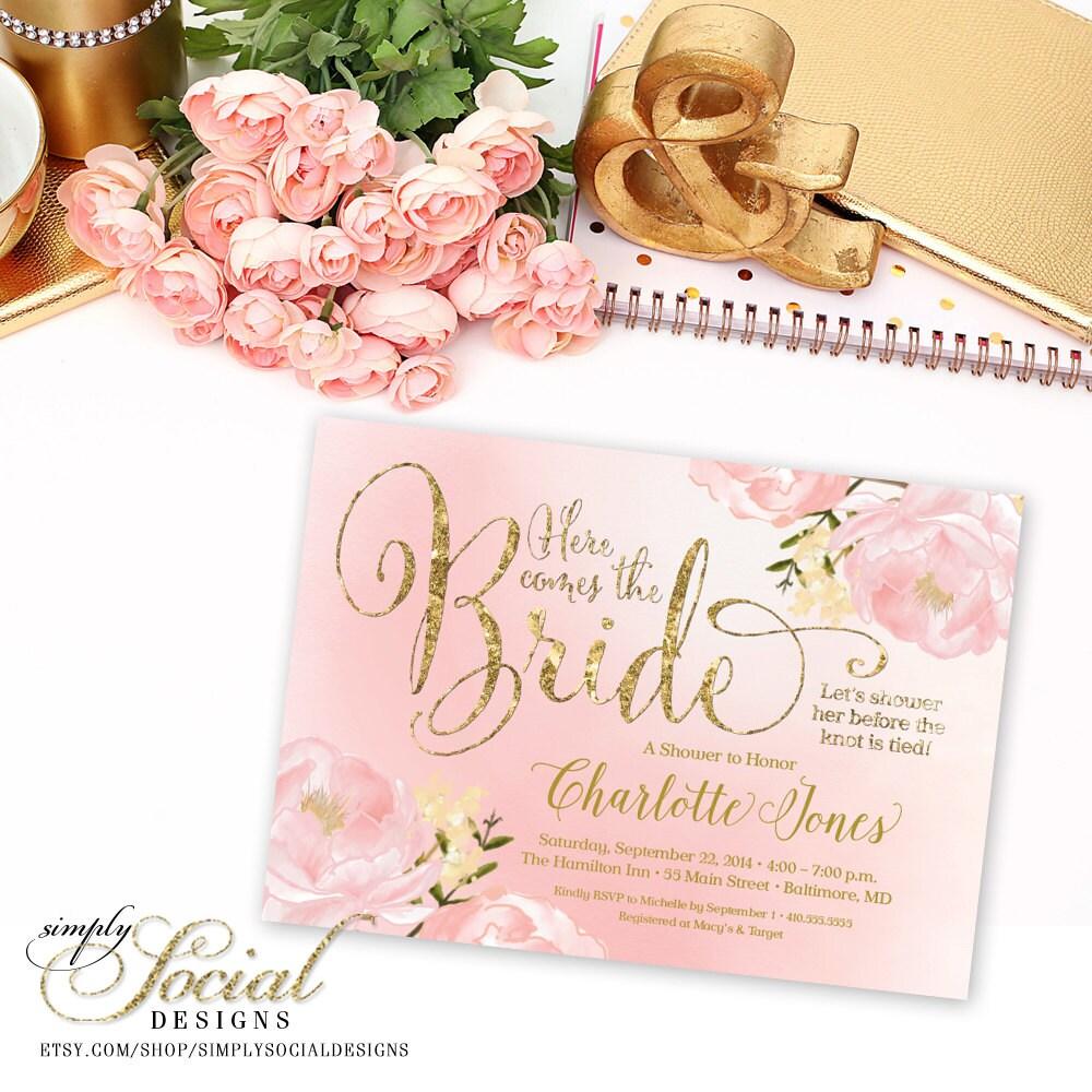 Blush and Gold Bridal Shower Invitation Romantic Garden