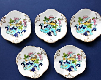 vintage 5 butter pats hand painted Japanese enamel, instant collection