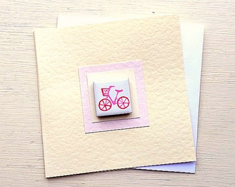 Bicycle Card Pink, Birthday Card, Greeting Card, Blank Card, Magnet Card, Cycling Card, Card for Cyclist, Card for Girl