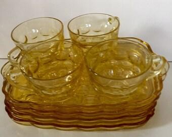 Vintage Amber Glass Snack Set