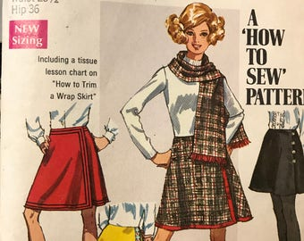 """1969 Simplicity Pattern #8298 """"A 'How to Sew' Pattern"""" 1 Figure Type, 7 Sizes"""