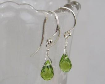 Peridot Earrings in Sterling Silver, Dangle Earrings, Birthstone Gift, Peridot Gemstone, Green Drop Earrings, August Birthstone Jewelry