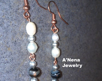 "Earrings  Pearl, Onyx, 925 Silver beads and Copper""Jatunyana"" (grow in Quechua)"