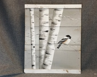 Painting On Wood Pallet White Birch Wall Decor Painting 4