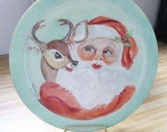 Vintage 1974 Santa and Reindeer Plate - China handpainted  on Japan fine  Porcelain  Blank - fantastic job!  Estate find from a true artist.