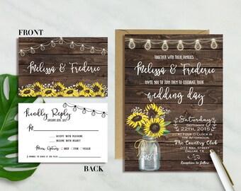 Sunflower Wedding Invitation, Rustic Sunflower Wedding Invitation, Mason Jar Wedding Invite, Country Wedding, Woodland Wedding, Barn wedding