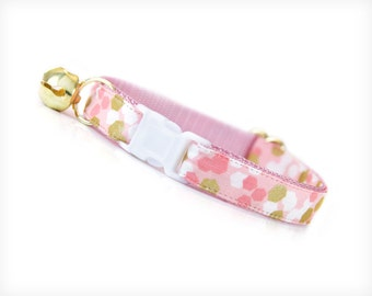 """Cat Collar - """"Confetti Party"""" - Pink, White & Gold - Breakaway Safety Buckle or Non-Breakaway - Sizes for Cat, Kitten, Small Dog"""