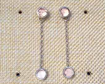 Rose Quartz Silver Front Back Silver Earrings, Gemstone Drop Earrings, Two Way Rose Quartz Earrings, Quartz Drops, Raw Stone Silver Earrings