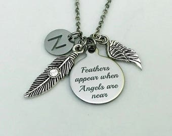 Memorial necklace, Feathers appear when angels are near, Angel wing charm, Gift for loss of a loved one, Mom Dad Memorial, Remembrance Gift