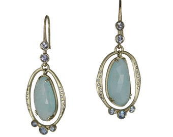 14k white gold drop earrings with aquamarine slices, sapphires and diamonds