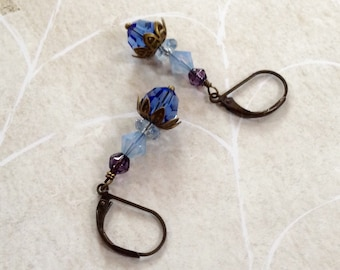 Blue Swarovski Crystal And Brass Earings
