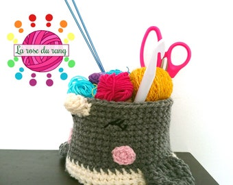 Small narwhal crochet basket