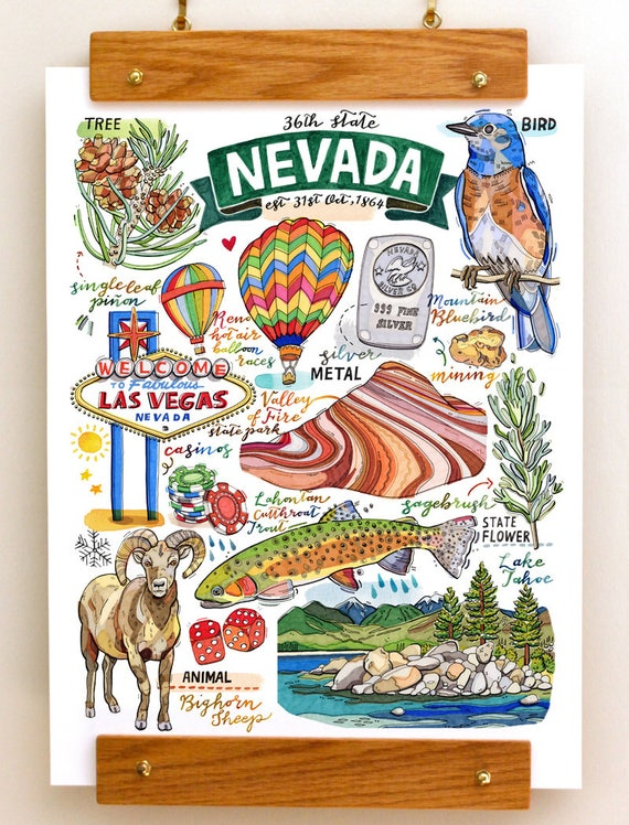Nevada State Print State Symbols Illustration State Art