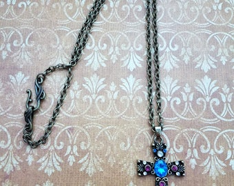 Handmade Antique Gold Cross Featuring Teal and Pink Glass Bling on an Antique Gold Chain with a Very Simple Hook Closure