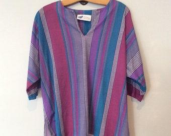 1980s Striped Dolman Sleeve T Shirt