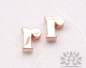 """IP003-GRG-R// Glossy Rose Gold Plated Simple Lower Case Initial """"r"""" Pendant, 2 pcs"""