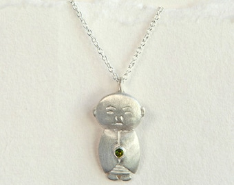 Tourmaline Jizo, Jizo Necklace, Silver Buddha Jewelry, Buddhist Jewelry, Meditation Jewelry, Spiritual Necklace, Buddha Accessories